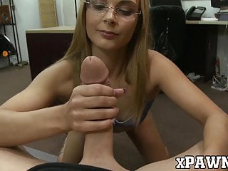 Skinny gal with glasses doggystyled by the pawnbroker