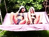 Old and young hot threesome outdoor