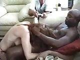 White slut blows multiple black guys