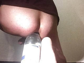 big bottle in the anus with cumshot