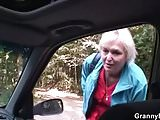 He picks up and fucks old bitch outdoors