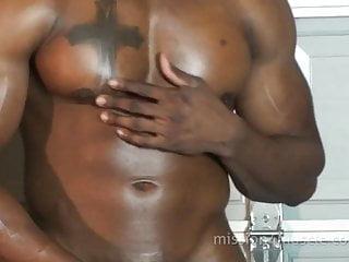 Big black muscle hunk solo...