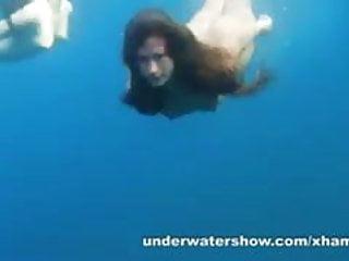 Nastya and masha are swimming nude sea...