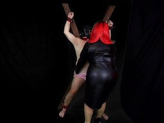 CFNM Slave on the Cross Has His Knickers Pulled Down