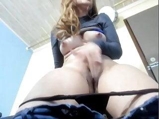 Cute blonde rubbing on webcam...