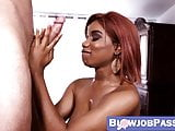 Adorable ebony chick get sloppy when a cock is in her throat