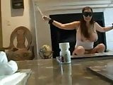 Blindfolded girl use