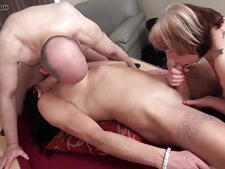Hot old couple have a threesome...