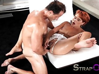 Strapon mature guy shows her she can take...
