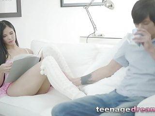 Anally plowed skinny teen gets face spermed