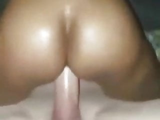 Ebony loves to ride on white cock