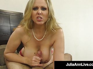 Shaft Sucking Cougar Julia Ann Sucks & Strokes Fortunate Penis!