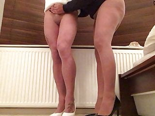 Tan pantyhose and shoes for two .