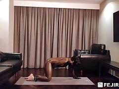 Fejira com – a latex-clad girl masturbating to orgasm