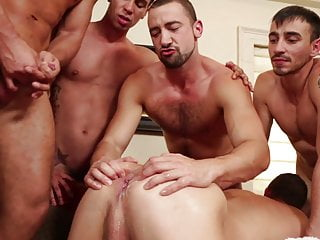 Passionate fucking gangbang cum in ass...