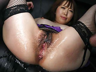 Strips sexy lingerie during the slippery masturba...