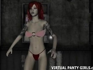 hentai 3d dancing redhead stage stripper on
