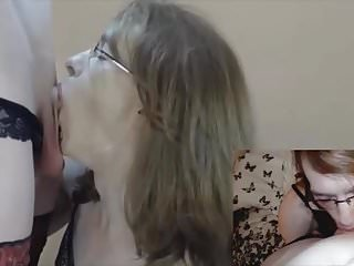 Double view of a hot blowjob...