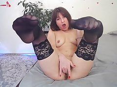 Horny Babe in Stockings Fingering - Sensual Solo