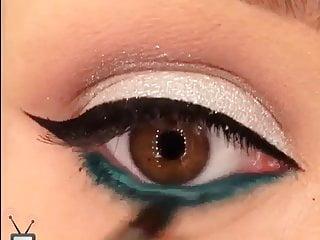 Blue and acrylic eye shadow