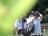 Real Japanese schoolgirls peeing in the outdoors