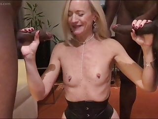 Flat chested blonde MILF gets hammered in her hot holes in a threesome