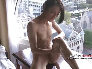 Skinny french montreal porn star hellizabeth flashes fit...