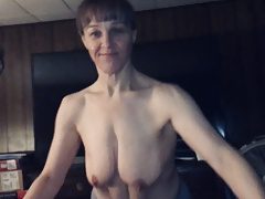 Granny saggy boobs and belly sucking dick and pussy creampie