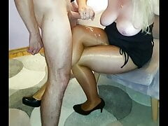 Cum on wife's legs in pantyhose after blowjob and handjob
