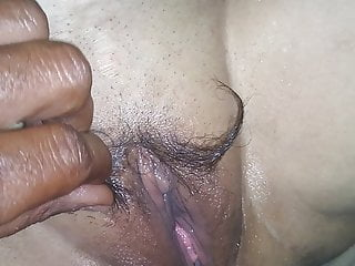 Making mustache with pussy hairs massage...