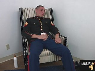 Marine round two jacking off in my dress...