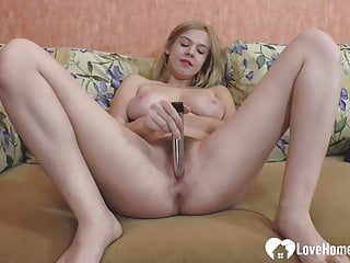 Hairy blonde pleasures herself with a metal toy