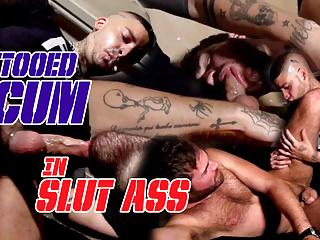 Teaser Tattooed scum fucks gay bitch in ass fucking mode
