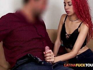 Latina IG influencer facial cumshot challenge