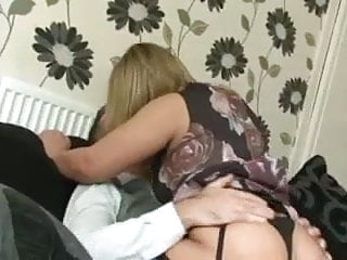 Filthy British slut gets pounded on the sofa