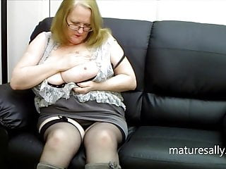 Sally in her black stockings and gray boots