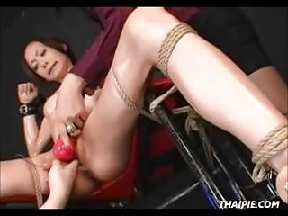 Roped Asian Made To Orgasm