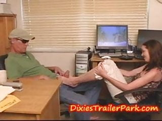 Girl gives older guy a FOOT JOB