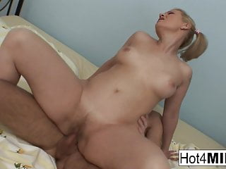 Blonde cougar gets fucked by a younger man