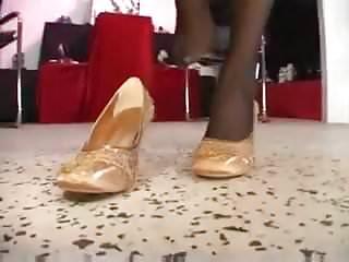Lesbian shoe salon fucked with heels