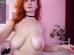 Girl with big natural saggy boobs.