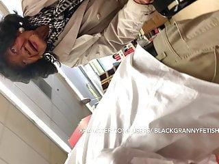 Dark skinned Grandma Upskirt