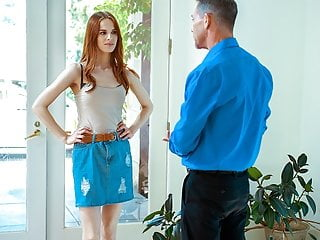 DADDY4K. After a quarrel with her husband, glowing ginger persuades his stepdad