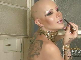 Blondie Johnson in the old bathroom