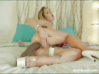 Stunning blonde stretching dildo...