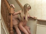 awesome pussy gets fucked in the stairs