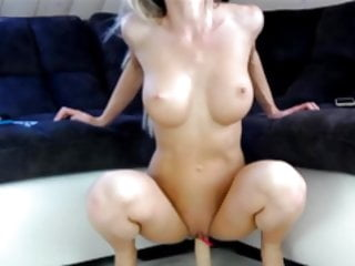 Amazing fit blonde MILF deep throat dildo and fuck