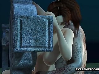 3d babe fucked in a graveyard by a...