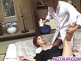 Nana Nanami gets cum on ass cheeks from sucked dicks after