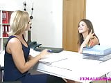 FemaleAgent Sexy casting ends in lesbian lust orgasms